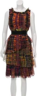 Oscar de la Renta Silk Plaid Dress