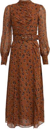 Nicholas Leopard Georgette Ruched Dress
