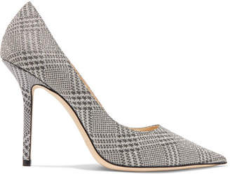 321cd6aa239 Jimmy Choo Love 100 Glittered Checked Leather Pumps - Silver