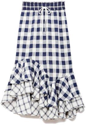 Lee Mathews Nellie Checked Linen Asymmetric Skirt