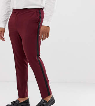 Asos Design DESIGN Plus skinny tuxedo prom suit trousers in plum