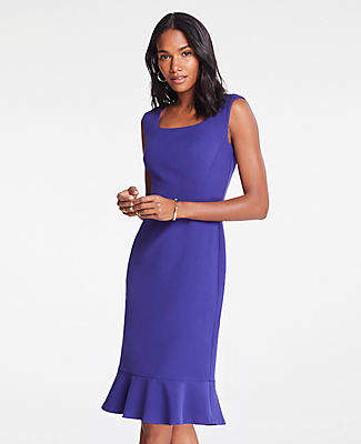 Ann Taylor Eyelet Fluted Sheath Dress