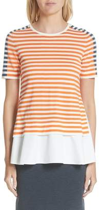 Akris Punto Tricolor Stripe Mixed Media Tee