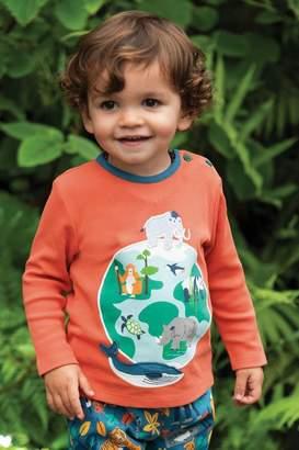 Frugi Boys Organic Long Sleeve Top With Planet Applique - Orange