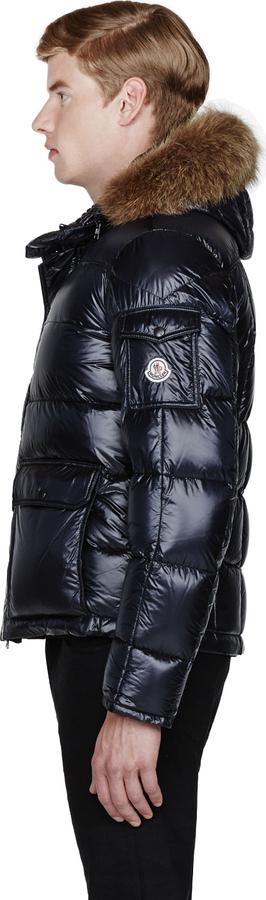 Moncler Navy Fur-Trimmed Hubert Jacket