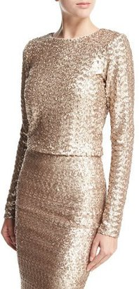 Alice + Olivia Lebell Sequined Long-Sleeve Crop Top, Light Pink $295 thestylecure.com