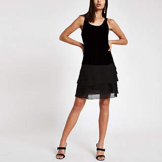River Island Black velvet frill hem dress