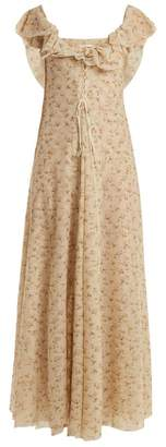 Brock Collection Dora Floral Print Tulle Dress - Womens - Beige Print