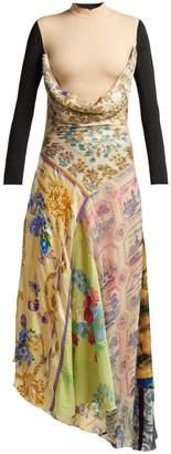 MARINE SERRE Scarf-print high-neck silk dress