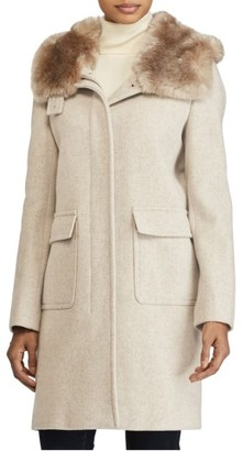 Women's Lauren Ralph Lauren Hooded Coat With Faux Fur $350 thestylecure.com