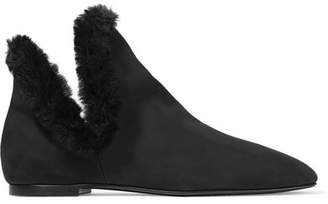Eros Shearling-trimmed Nubuck Ankle Boots - Black