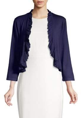 Karl Lagerfeld Paris Ruffle Front Long-Sleeve Cropped Cardigan