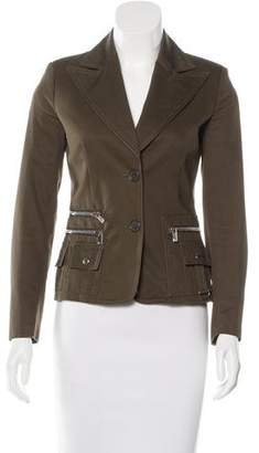 Michael Kors Zip-Accented Wide-Lapel Jacket