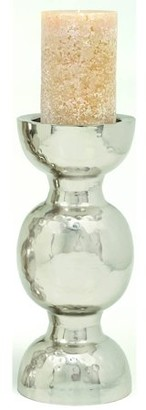 DecMode Decmode Metal Candleholder, Silver