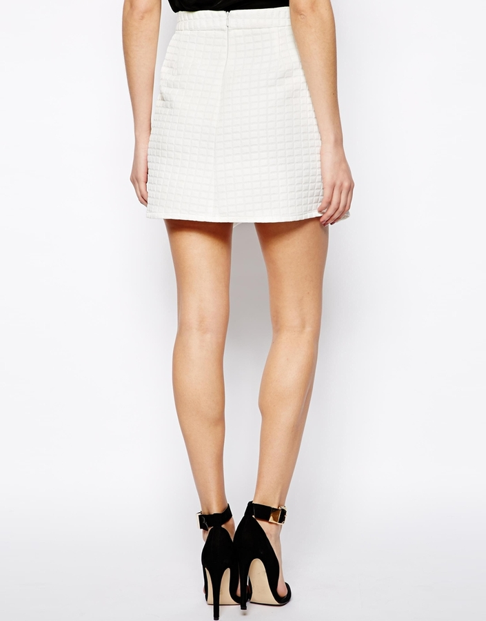 Asos Mini Skirt in Texture with Fold Front
