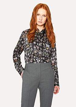Paul Smith Women's Black 'Jewels' Print Shirt