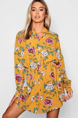 boohoo Petite Floral Tie Waist Shirt Dress