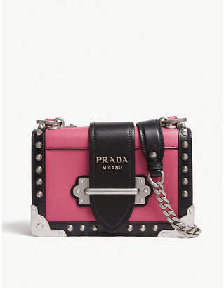 Prada Pink and Black Cahier Small Leather Shoulder Bag