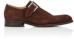 Harris Men's Suede Monk-Strap Shoes-Dk. brown
