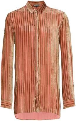 Ann Demeulemeester velvet stripe silk cashmere-blend shirt