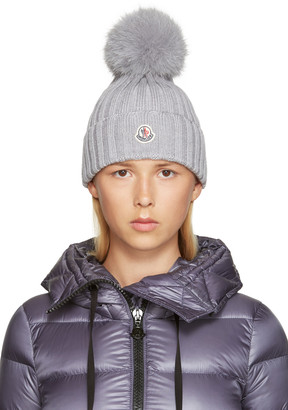 Moncler Grey Wool Beanie $335 thestylecure.com