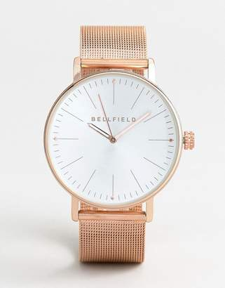 Bellfield Mesh Strap Watch in Rose Gold