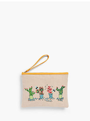 Talbots Cactus-Embroidered Novelty Wristlet