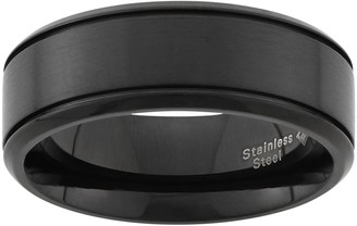 Black Ion-Plated Stainless Steel Wedding Band - Men