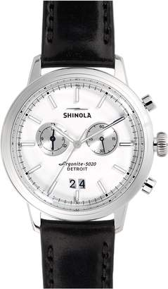 Shinola The Bedrock Chronograph Leather Strap Watch, 42mm