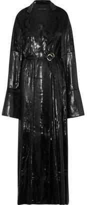 Michael Lo Sordo - Coated-velvet Wrap Maxi Dress - Black