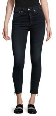 rag & bone/JEAN Dive High-Rise Ankle Zip Capri Jeans/Black Brook $275 thestylecure.com
