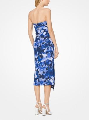 Michael Kors Floral Douppioni Strapless Dress