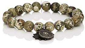 Miracle Icons Men's Vintage-Icon Beaded Bracelet-Green