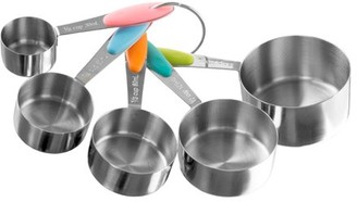 Measuring Cups Set, Stainless Steel with Colored Silicone Handles and Metal Ring Hanger for Baking and Cooking (5 Piece) by Classic Cuisine
