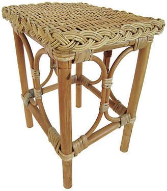 One Kings Lane Vintage English Rattan & Bamboo Side Table - AntiqueLifestyle