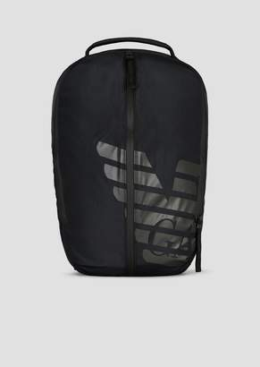d4d14720d1 Emporio Armani R-Ea-Mix Backpack In Nylon With Rubberized Inserts And Maxi  Logo