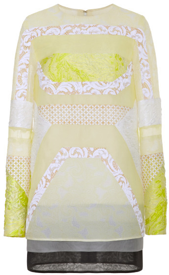 J. Mendel Pieced Lace Jacquard And Cloque Organza Long Sleeve Shift Dress