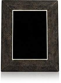 """R & Y Augousti Shagreen-Covered Wood 5"""" x 7"""" Picture Frame-Antique Black"""