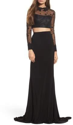 Mac Duggal Star Mesh Two-Piece Gown
