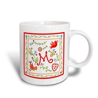 3dRose Letter M Monogram and design inpired by embroidered Portuguese Love Handkerchiefs, Ceramic Mug, 11-ounce