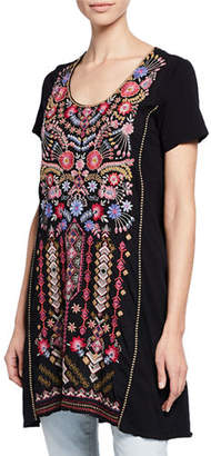 Johnny Was Frederique Embroidered Short-Sleeve Panel Knit Mix Tunic