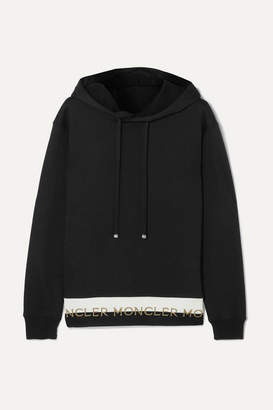 Moncler Intarsia-trimmed Cotton-blend Jersey Hoodie - Black