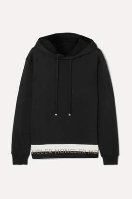 5c5e4e35404 Moncler Intarsia-trimmed Cotton-blend Jersey Hoodie - Black