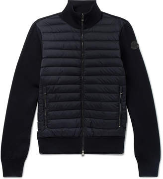 Moncler Slim-Fit Cotton-Blend and Quilted Shell Down Zip-Up Sweater