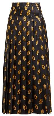 Gucci Gg Print High Rise Silk Pleated Wrap Skirt - Womens - Black Gold