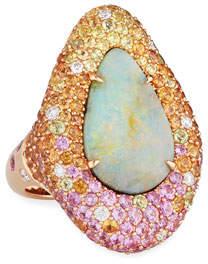 Margot McKinney Jewelry 18k Rose Gold Opal & Multi-Stone Ring