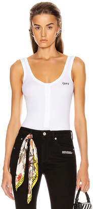Off-White Off White Buttoned Up Bodysuit in White & Black | FWRD