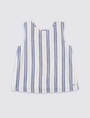 AutographMarks and Spencer Cotton Rich Striped Bow Top (3-16 Years)