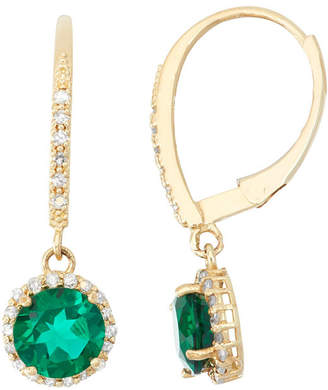 FINE JEWELRY Lab Created Emerald And 1/4C.T. T.W. Diamond 10K Yellow Gold Earrings