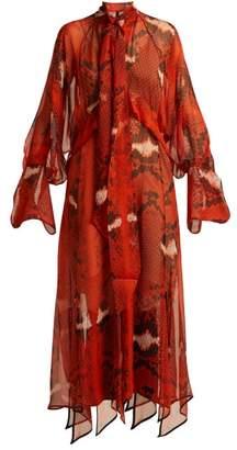 Petar Petrov Delmar Snake Print Silk Chiffon Dress - Womens - Red Multi